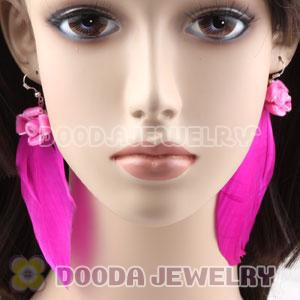 Wholesale Pink Tibetan Jaderic Indianstyles Flower Feather Earrings