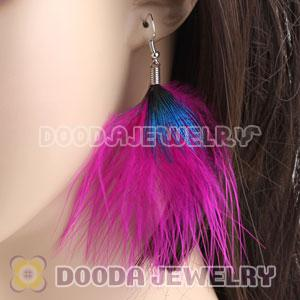 Wholesale Magenta Tibetan Jaderic Bohemia Styles Shagginess Feather Earrings