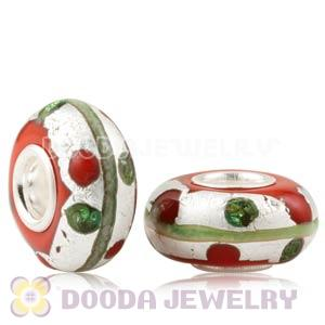 Colored Dots Silver Foil Glass Charm Beads With Sterling Silver Single Core
