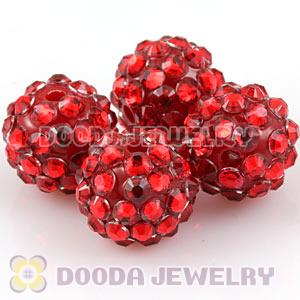 12mm Red Rhinestone Basketball Wives Resin Pave Beads Wholesale