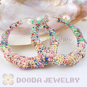 80mm Basketball Wives Bamboo AB Colorful Crystal Hoop Earrings Wholesale