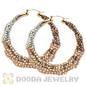 80mm Basketball Wives Bamboo Crystal Hoop Earrings Wholesale