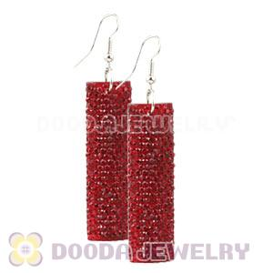 Basketball Wives Red Crystal Bamboo Hoop Earrings Cheap