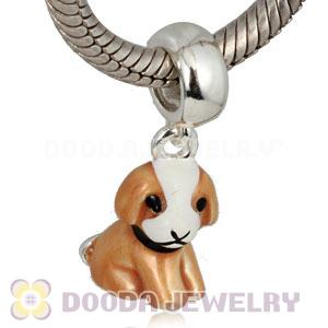 925 Sterling Silver Enamel Dangle Puppy Dog Charms Wholesale