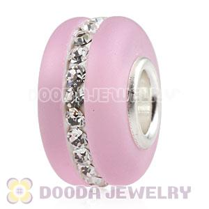 Pink Frosted Glass Silver Core Bead With Austrian Crystal For European Bracelet