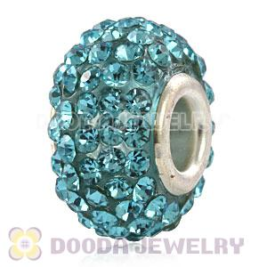 Wholesale European Cyan Pave Crystal Bead With Alloy Core