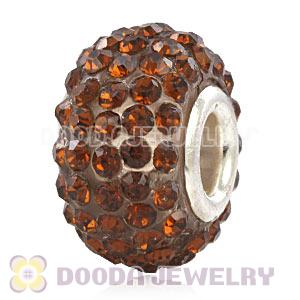 Wholesale European Tawny Pave Crystal Bead With Alloy Core