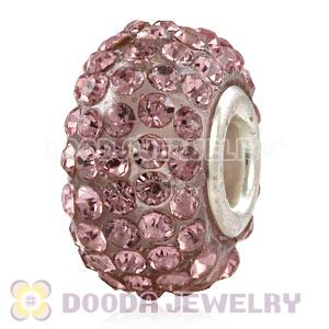 Wholesale European Pink Pave Crystal Bead With Alloy Core
