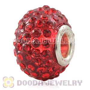 Wholesale European Red Pave Crystal Bead With Alloy Core