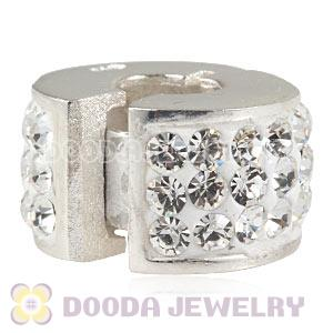 925 Sterling Silver Clip Charm Beads With Austrian Crystal