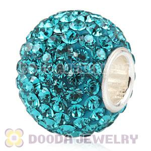 10X13 Big Charm Beads With 130pcs Blue Zircon Austrian Crystal 925 Silver Core