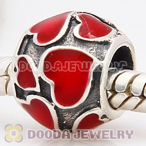 925 Sterling Silver Charm Jewelry Beads Enamel Red Loves