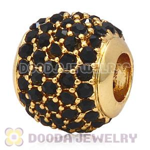 24 Karat Gold European Jet Pave Lights Charm With Jet Crystal