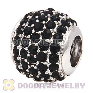 Platinum Plated European Jet Pave Lights Charm With Jet Crystal