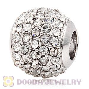 Platinum Plated European Clear Pave Lights Charm With Clear Crystal
