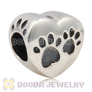 Antique Sterling Silver European Heart Footprint Paws Charm Wholesale