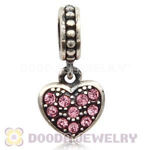 Sterling Silver European Light Rose Pave Heart Dangle With Light Rose Austrian Crystal