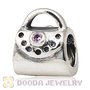 Solid Sterling Silver Handbag Beads with Stone fit European, Largehole Jewelry