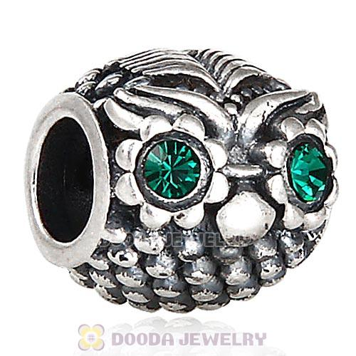 Sterling Silver Wise Owl Charm Beads with Emerald Austrian Crystal