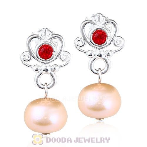 Sterling Silver My Sweet Princess with Light Siam Crystal Dangle Pearl Earrings