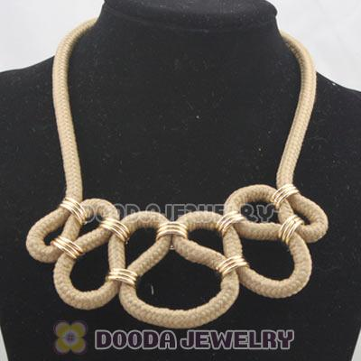 Handmade Weave Fluorescence Coffee Cotton Rope Fashion Necklace