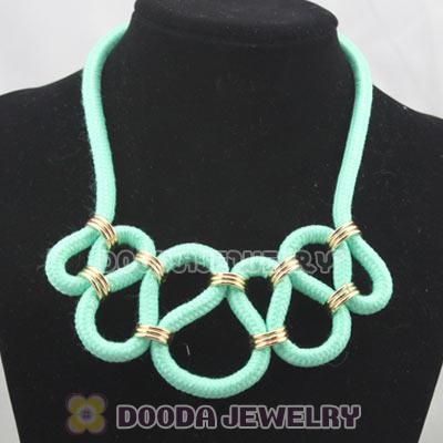 Handmade Weave Fluorescence Turquoise Cotton Rope Fashion Necklace