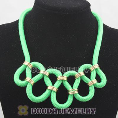 Handmade Weave Fluorescence Dark Green Cotton Rope Fashion Necklace