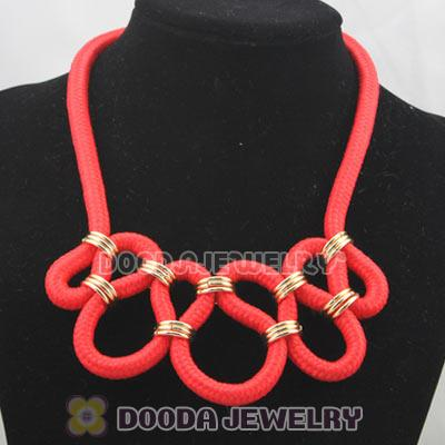 Handmade Weave Fluorescence Watermelon red Cotton Rope Fashion Necklace