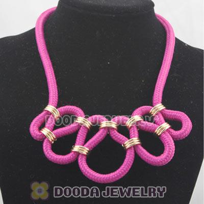Handmade Weave Fluorescence Fuchsia Cotton Rope Fashion Necklace