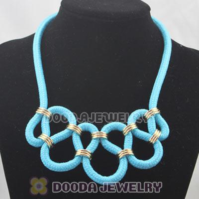 Handmade Weave Fluorescence Light Blue Cotton Rope Fashion Necklace