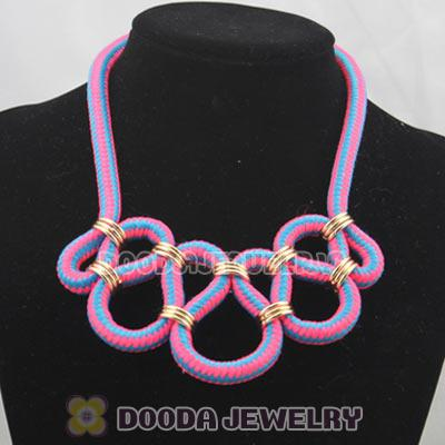 Handmade Weave Fluorescence Rose Blue Cotton Rope Fashion Necklace
