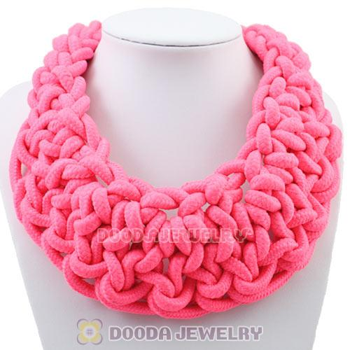 Handmade Weave Fluorescence Pink Cotton Rope Statement Necklace