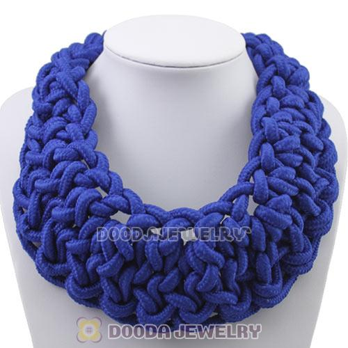 Handmade Weave Fluorescence Dark Blue Cotton Rope Statement Necklace