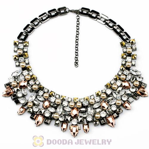 Vintage Punk Style Rivet and Crystal Statement Necklace