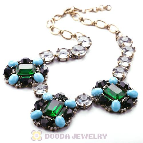 Luxury brand Multi Color Resin Crystal Flower Statement Necklaces Wholesale