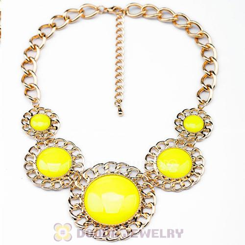 2014 Design Lollies Yellow Resin Round Fashion Necklaces Wholesale
