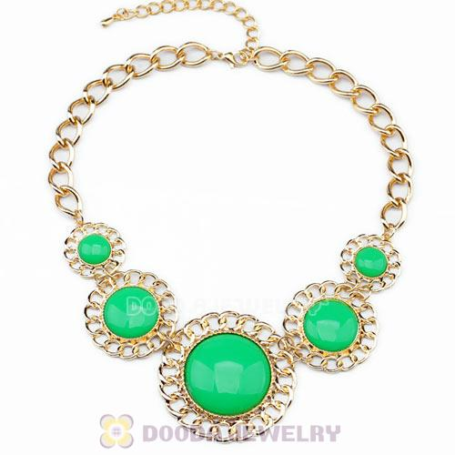 2014 Design Lollies Green Resin Round Fashion Necklaces Wholesale