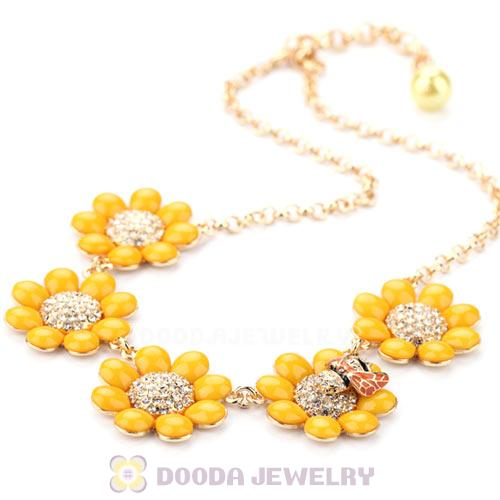 2014 Design Lollies Yellow Resin Flower with Crystal and Ladybug Necklaces Wholesale
