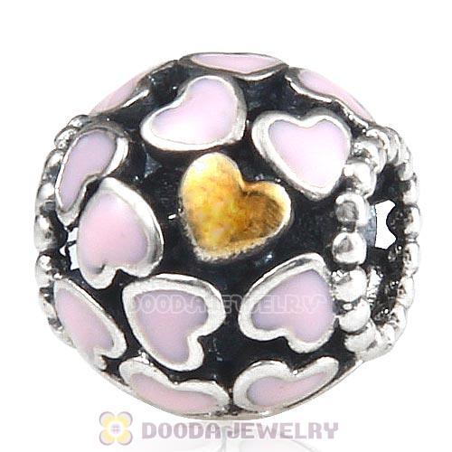 Sterling Silver Gold Plated Abundance of Love with Pink Enamel Beads