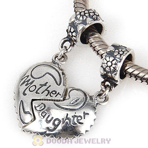 European Style Sterling Silver Dangle Mother Daughter Heart Charms