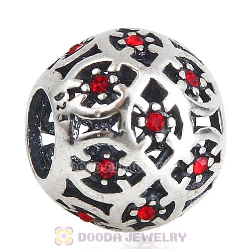 Sterling Silver Intricate Lattice Bead with Light Siam Austrian Crystal