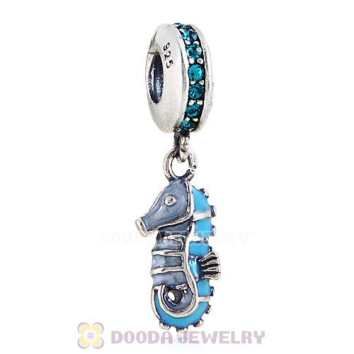 Sterling Silver Dangle Tropical Seahorse with Blue Zircon Austrian Crystal Charm