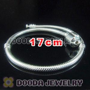 17cm 925 Silver Charm Jewelry Bracelet without stamped Clip