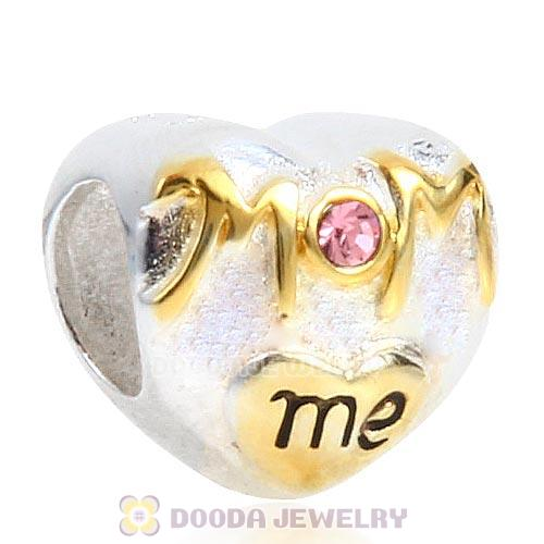 Sterling Silver Gold Plated MOM Love me Heart Beads with Light Rose Austrian Crystal