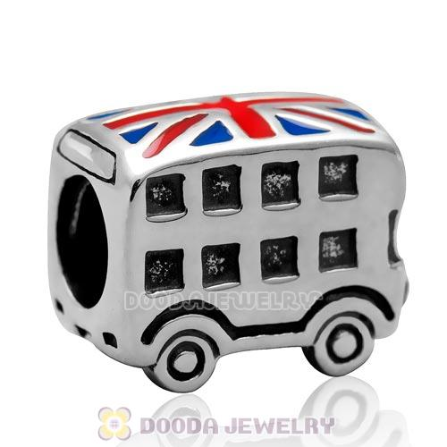 925 Sterling Silver Double Decker Tour Bus with British Flag Enamel Charm Bead