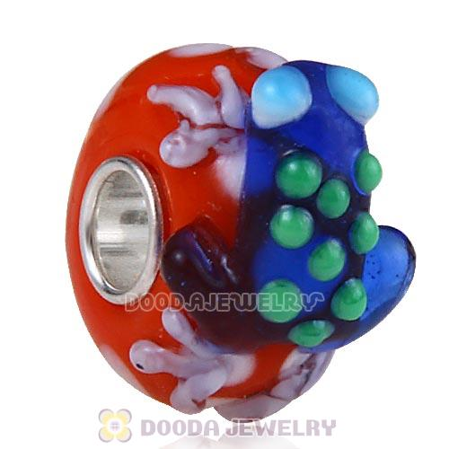 European Style Red Faceted Lampwork Glass Animal Frog Beads in 925 Silver Core
