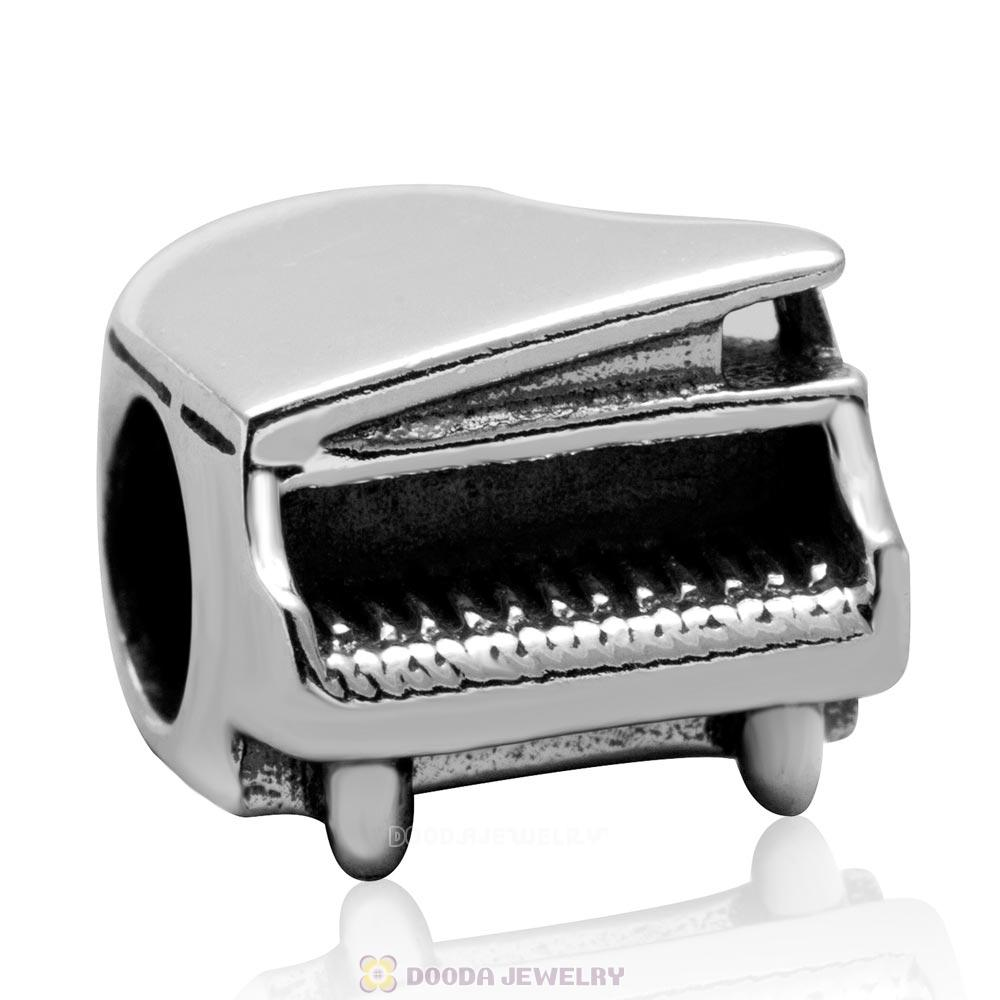 European 925 Sterling Silver Piano Charm Bead for Music Lovers