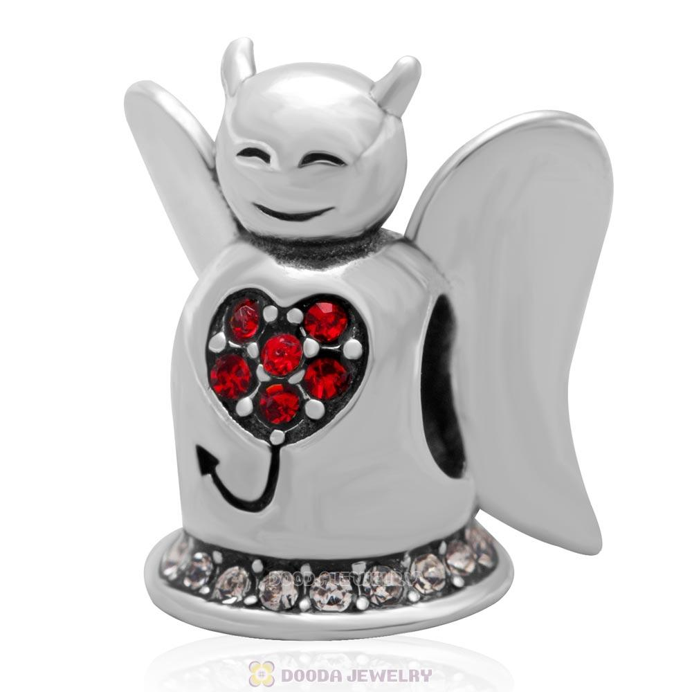 Sterling Silver European Charm Loving Angel Bead with Lt Siam Crystal