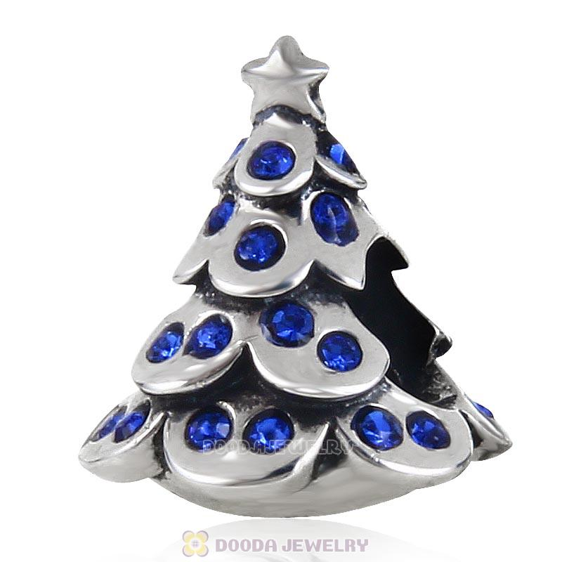 925 Sterling Silver Merry Christmas Tree Bead with Sapphire Australian Crystal