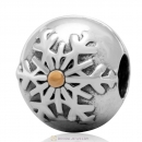 Snowflake Winter Wonderland Gold Plated Sterling Silver Clip Charm Bead
